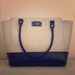 Kate Spade cream and black colorblock purse VGUC